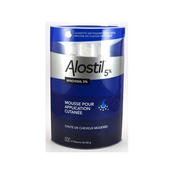 alostil 5 minoxidil mousse 3 flacons de 60ml chute des cheveux pharma z la boutique. Black Bedroom Furniture Sets. Home Design Ideas