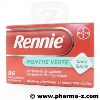 RENNIE Menthe Verte Sans Sucre Boite de 96 Comprimés