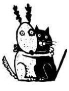 animaux, peur, réconfort, dessin, chien, chat